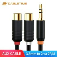 Cabletime 3.5mm Male to 2RCA Female Stereo AUX Audio Cable Y Adapter For Tablet