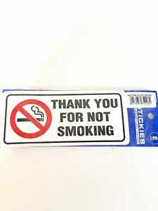 NO SMOKING SIGN/STICKER RECTANGLE THANK YOU FOR NOT SMOKING SIGN 60MM X 150MM