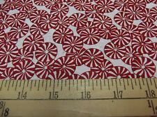 """2 yards """"Peppermint Candy"""" on White Christmas Fabric"""