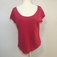 Talbots Woman`s 100% Cotton red short sleeve boat neck top, Large