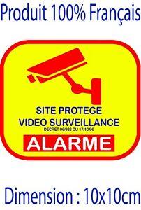Autocollant alarme site protégé domestique stickers - video surveillance