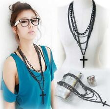 Black Retro Metal large Cross Pendant Multi-layer Chain Long Necklace Womens UK
