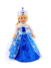 """18"""" Doll Snowflake Queen Dress with Tiara fits American Girl Dolls"""