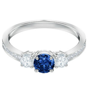 Attract Trilogy Round Ring Blue, Rhodium plated Size 7