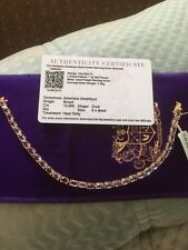 """12c Ametista Amethyst Gold Plated Sterling Silver Braselet 7.5"""""""