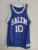 Rare Vintage 90s Champion Salem #10 Blue Basketball Jersey Mens 40 M