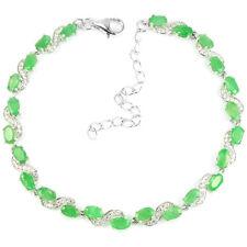 Sterling Silver 925 Genuine Natural Emerald & Lab Diamond Bracelet 63/4 - 83/4