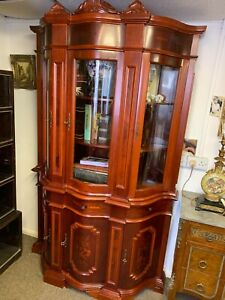 Antique Style Italian Sideboard Inlaid Display Cabinet Glassed Bow Front