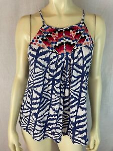 Lucky Brand Top S Cotton Linen Stretch Knit Pullover Tank Top Embroidery Boho
