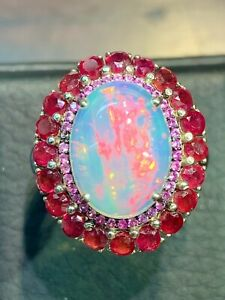 NATURAL FIRE OPAL 14X10 RUBY 2.5 SAPPHIRE DIAMOND CUT STERLING SILVER925 RING