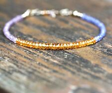 Natural Pink Sapphire, Mandarin Garnet and Tanzanite Bracelet Solid 14k Gold