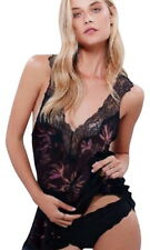 Free People Trapeze Tunic XSmall 0 2 Black Top Floral + Lace Revealing Boho NWT
