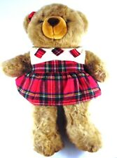 "Christmas 2000 Large 25"" Girl Teddy Bear in Plaid Dress JC Penney Collectible"