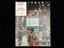November 1, 1970 Chicago Black Hawks @ New York Rangers Hockey Program