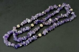 Necklace Amethyst Purple and 14K Yellow Gold Round Beads 29 Inches Long Necklace