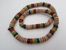 BROWN WITH RED/YELLOW/BLACK & GREEN HEISHE SHELL & COCO BEAD STRETCH NECKLACE.