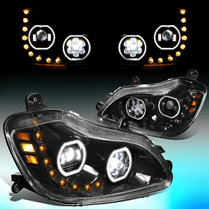 For 2013-2021 Kenworth T680 LED DRL Sequential Signal Projector Headlight Black