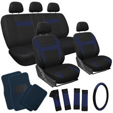 21pc Set Blue Black Car Seat Cover /Floor Mats/Steering Wheel/Belt Pad/Head Rest