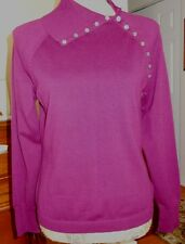 EDDIE BAUER STRETCH RIB-KNIT LONG SLEEVE PULLOVER TURTLENCK TOP PIMA COTTON L