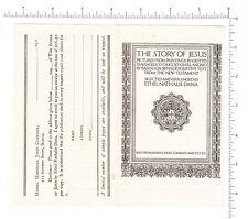 4412 The Story of Jesus, illustrated book, Ethel Nathalie Dana c 1925 order form