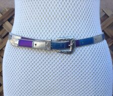 """1980s vintage Patchwork Leather Boho Style Western Silver Metal Detail 34"""""""