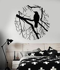 Vinyl Wall Decal Bird Branch Crow Gothic Style Bedroom Design Stickers (801ig)