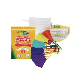10 Crayola Reusable Kids Back To School Supplies Cloth Face Masks 5 Colors NEW