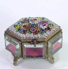 Antique Bronze / Brass Beveled Glass Jewelry Casket Box Micro Mosaic Flower Top