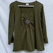 Motherhood Maternity Dark Olive Green 3/4 Sleeve Embellished Bead Shirt Size XL