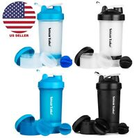 2-Pack Protein Shaker Bottle 16 oz. Sport Water Gym Workout Fitness Powder Mixer