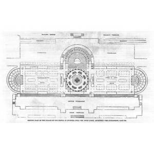 LONDON Ground Plan of the Palace of the People Muswell Hill - Antique Print 1860