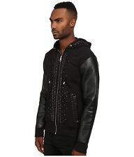 Just cavalli men hoodie Black With Organic Leather And Studs