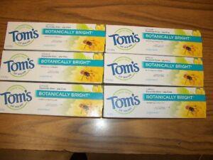 Tom's Of Maine Toothpaste Botanically Bright Whitening Peppermint 4.7 oz 6 Tubes