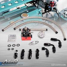 Adjustable EFI Fuel Pressure Regulator Kit W/ Oil 160psi Gauge Braided AN-6 Hose
