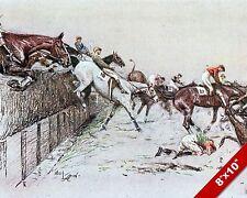 HORSES JUMPING OFF LEDGE JOCKEY RACE RACING ART PAINTING REAL CANVAS PRINT
