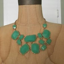 NWOT Boutique Green Faceted Stone Multi Layer Gem Gold Statement Bib Necklace