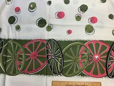 Vintage Cotton Feedsack Fabric 30s40s CUTE Wagon Wheels Border NOVELTY
