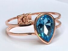ROSE GOLD swarovski elements BRACELET aquamarine fancy stone 30X20mm stone
