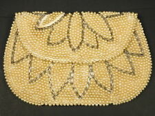 Lot of 3 Vintage Off White Pearl Beads Evening Bags Purse Clutch Damage Crafting