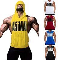 Men's Fitness Gym Print Bodybuilding Workout Cotton Sleeveless Hoodies Tank Top