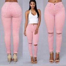 Women's Denim Skinny Ripped Pants High Waist Stretch Jeans Slim Pencil Trousers
