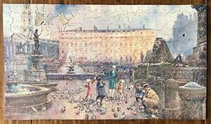 VINTAGE WOODEN JIGSAW PUZZLE- A FAMILY FEEDING THE PIGEONS IN TRAFALGAR SQUARE