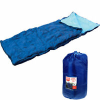 SINGLE SLEEPING BAG CAMPING CARAVAN WINTER WARM ADULT SIZE - CARRY BAG OUTDOOR