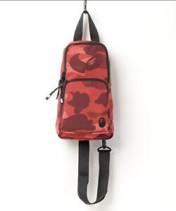 AUTHENTIC APE BAPE COLOR CAMO APE HEAD ONE POINT SHOULDER BAG RED NEW SALE