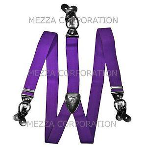 New Y back Men's Vesuvio Napoli Suspenders Braces clip on formal prom Purple