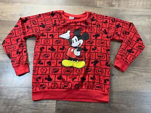 DISNEY Mickey Mouse Sweatshirt Red Black Size M (7/9) Long Sleeve Crew Neck