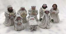 Retired 1999 Midwest Pam Schifferl White Nativity Set 8 Pieces Wiseman