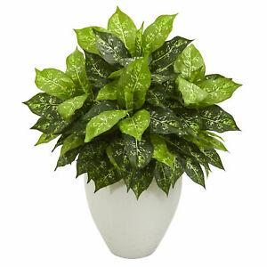 Nearly Natural Dieffenbachia Artificial Plant In White Planter Realistic Decor