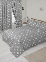 MODERN GREY & WHITE STARS FUNKY DUVET COVER BEDDING SET OR MATCHING CURTAINS
