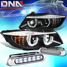 BLACK HALO PROJECTOR HEADLIGHT+CORNER+12 LED GRILL FOG LIGHT FIT 06-08 BMW E90